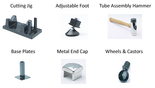 Accessories include a cutting jig, adjustable feet, assembly hammers, end caps, base plates and wheels and castors