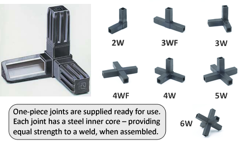 One piece joints are supplied ready for use. Each joint has a steel inner core - providing equal strength to a weld, when assembled